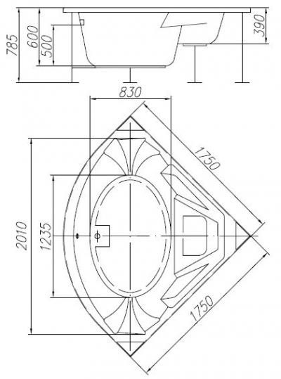 """Ванна акриловая """"Turandot"""" 175*175 в комплекте фронтальная панель, алюминиевый каркас"""